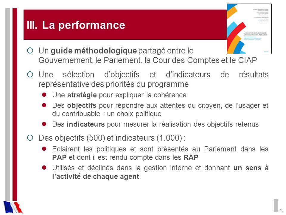 III. La performance Un guide méthodologique partagé entre le Gouvernement, le Parlement, la Cour des Comptes et le CIAP.