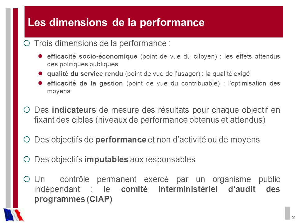 Les dimensions de la performance
