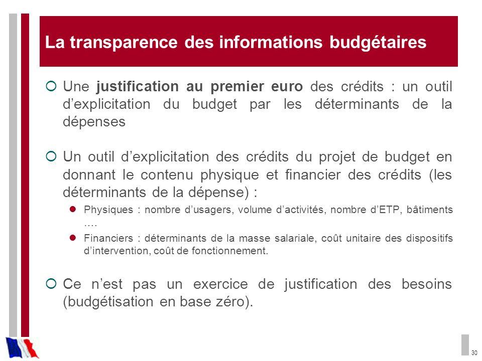 La transparence des informations budgétaires