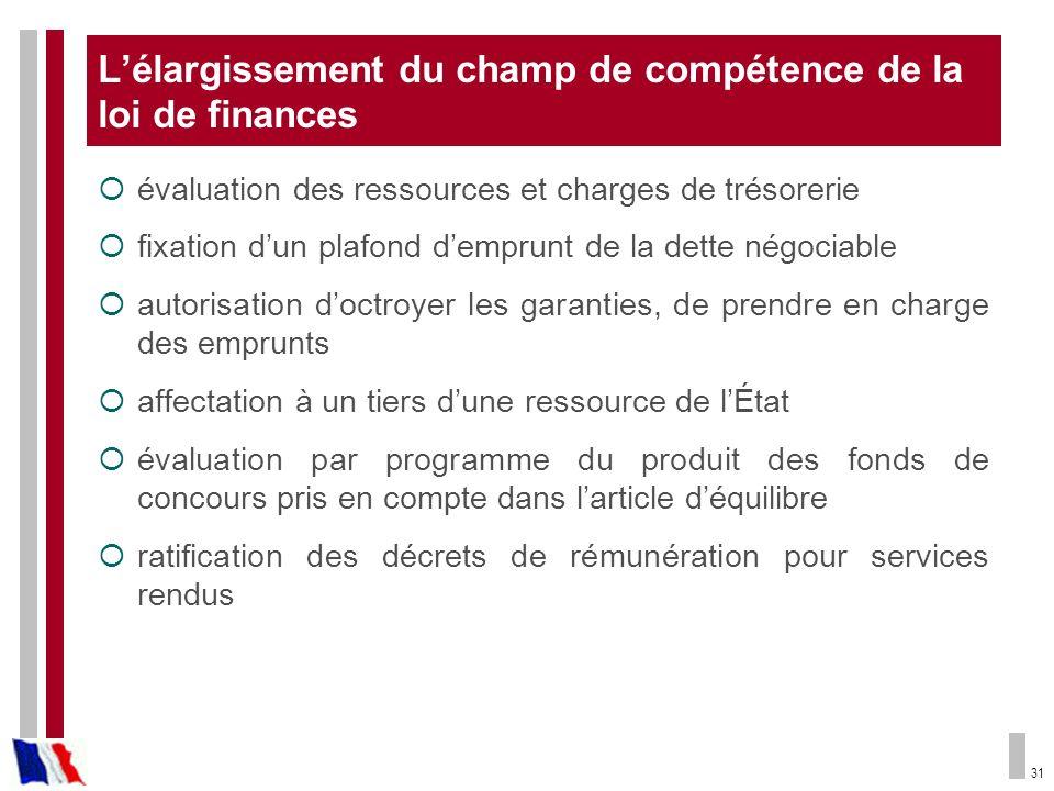 L'élargissement du champ de compétence de la loi de finances