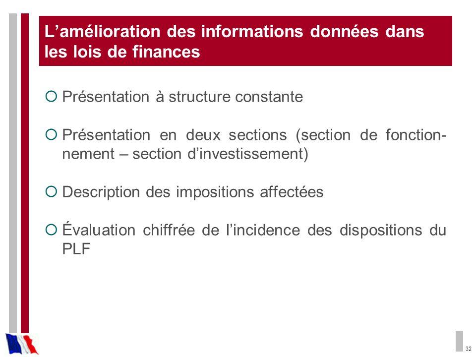 L'amélioration des informations données dans les lois de finances