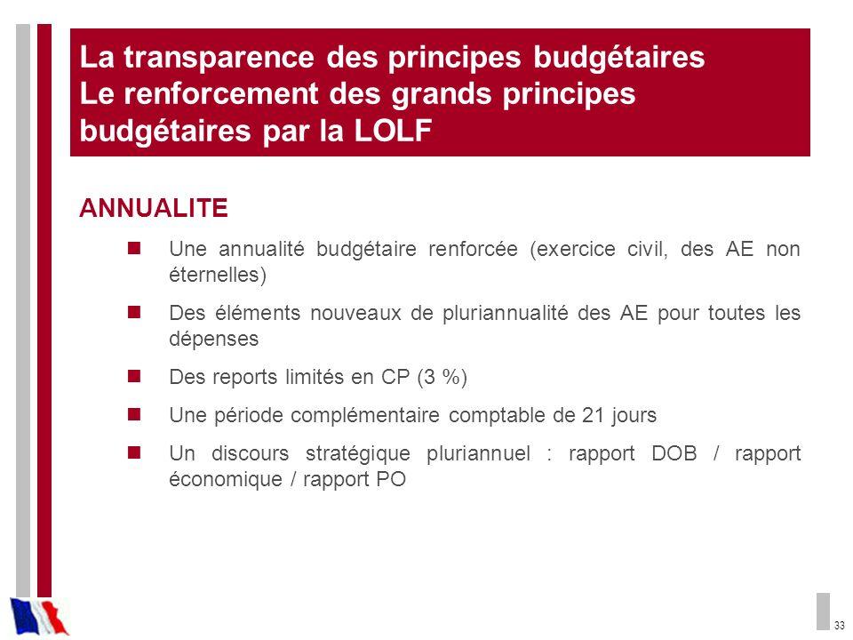 La transparence des principes budgétaires Le renforcement des grands principes budgétaires par la LOLF