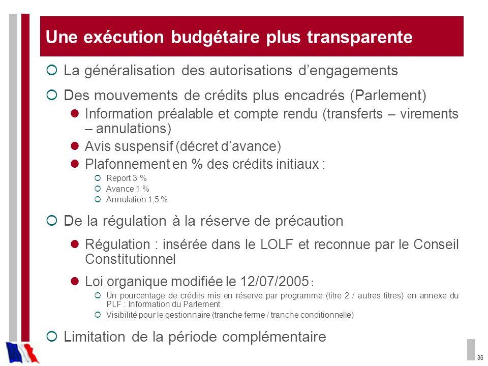 Une exécution budgétaire plus transparente