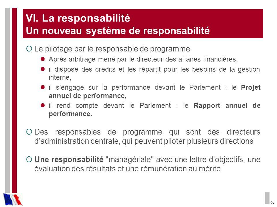 VI. La responsabilité Un nouveau système de responsabilité