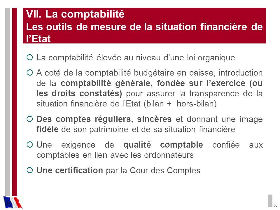 VII. La comptabilité Les outils de mesure de la situation financière de l'Etat