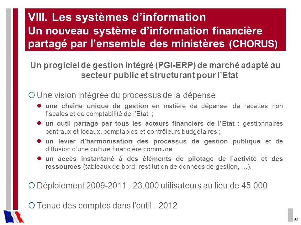 VIII. Les systèmes d'information Un nouveau système d'information financière partagé par l'ensemble des ministères (CHORUS)