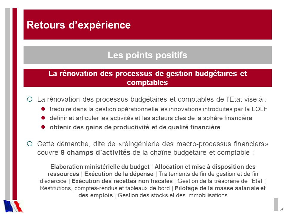 Rénover les processus de gestion budgétaires et comptables