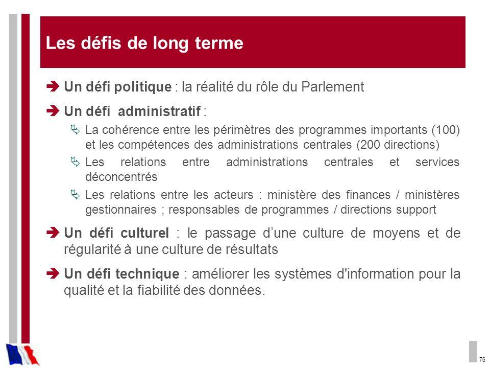 Les défis de long terme Un défi politique : la réalité du rôle du Parlement. Un défi administratif :