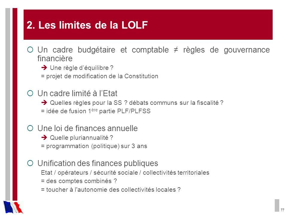 2. Les limites de la LOLF Un cadre budgétaire et comptable ≠ règles de gouvernance financière. Une règle d'équilibre