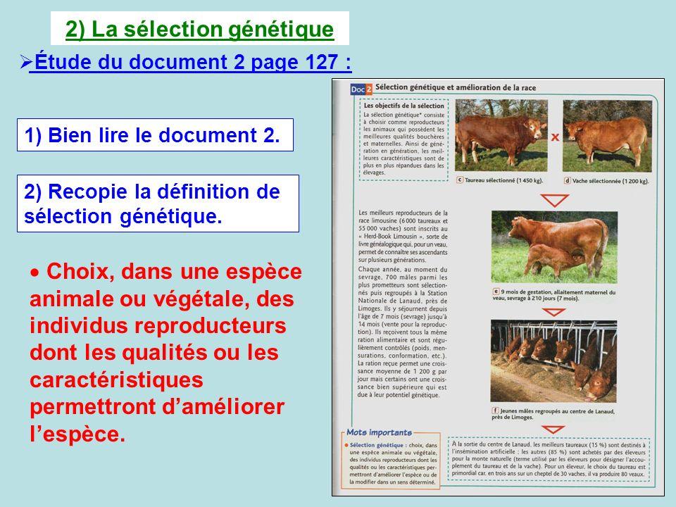 2) La sélection génétique