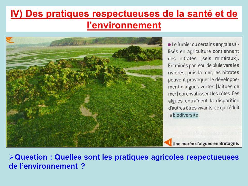 IV) Des pratiques respectueuses de la santé et de l'environnement