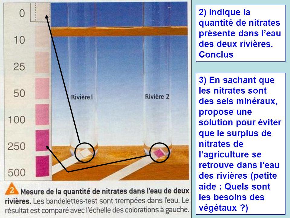 2) Indique la quantité de nitrates présente dans l'eau des deux rivières. Conclus
