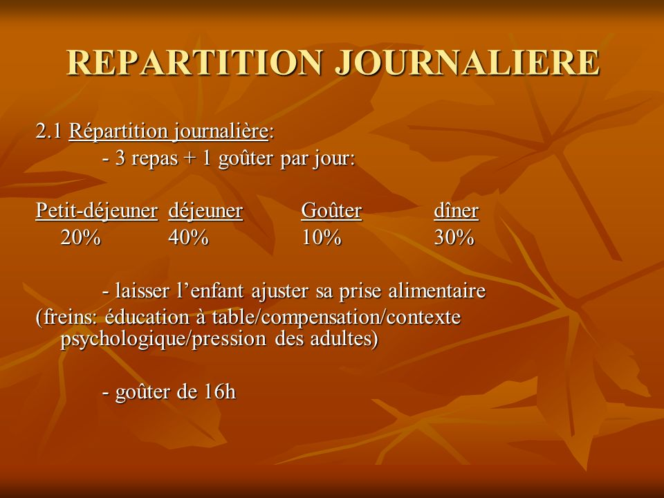 REPARTITION JOURNALIERE