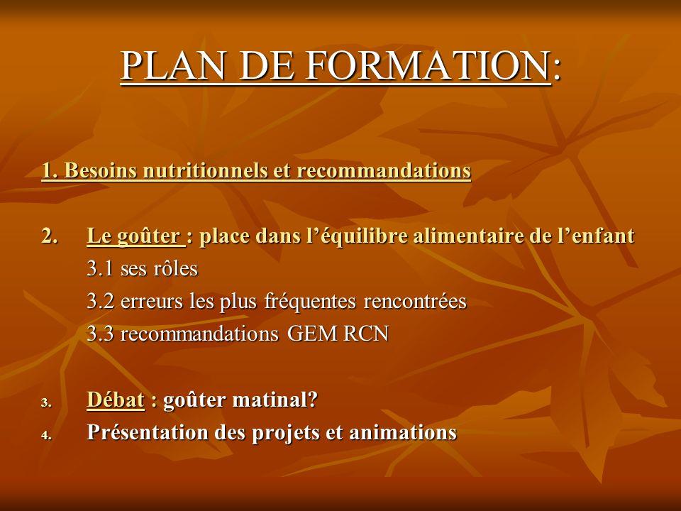 PLAN DE FORMATION: 1. Besoins nutritionnels et recommandations