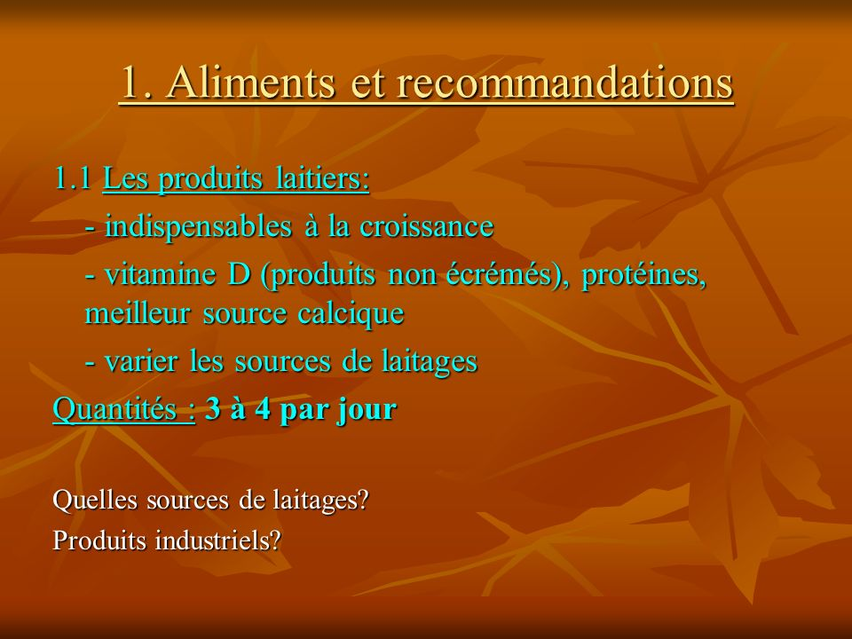 1. Aliments et recommandations