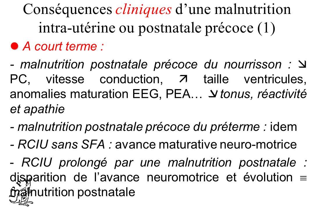 Conséquences cliniques d'une malnutrition intra-utérine ou postnatale précoce (1)