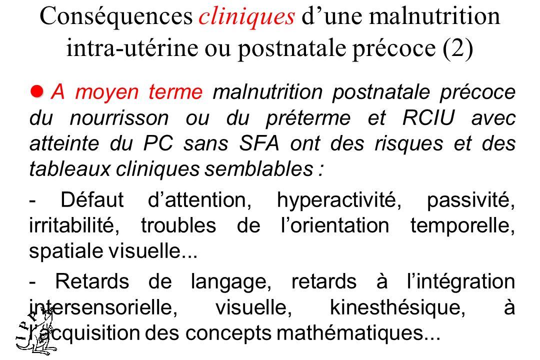 Conséquences cliniques d'une malnutrition intra-utérine ou postnatale précoce (2)
