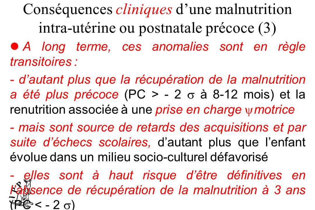 Conséquences cliniques d'une malnutrition intra-utérine ou postnatale précoce (3)