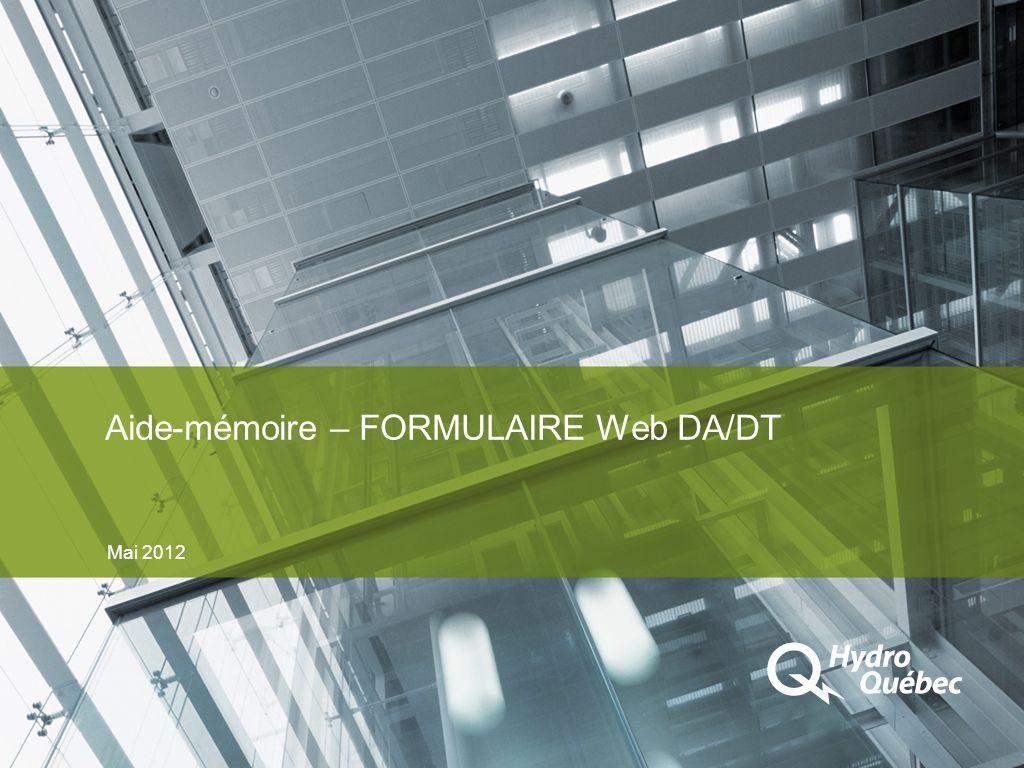 Aide-mémoire – FORMULAIRE Web DA/DT