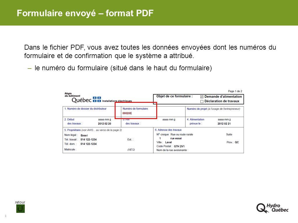 Formulaire envoyé – format PDF