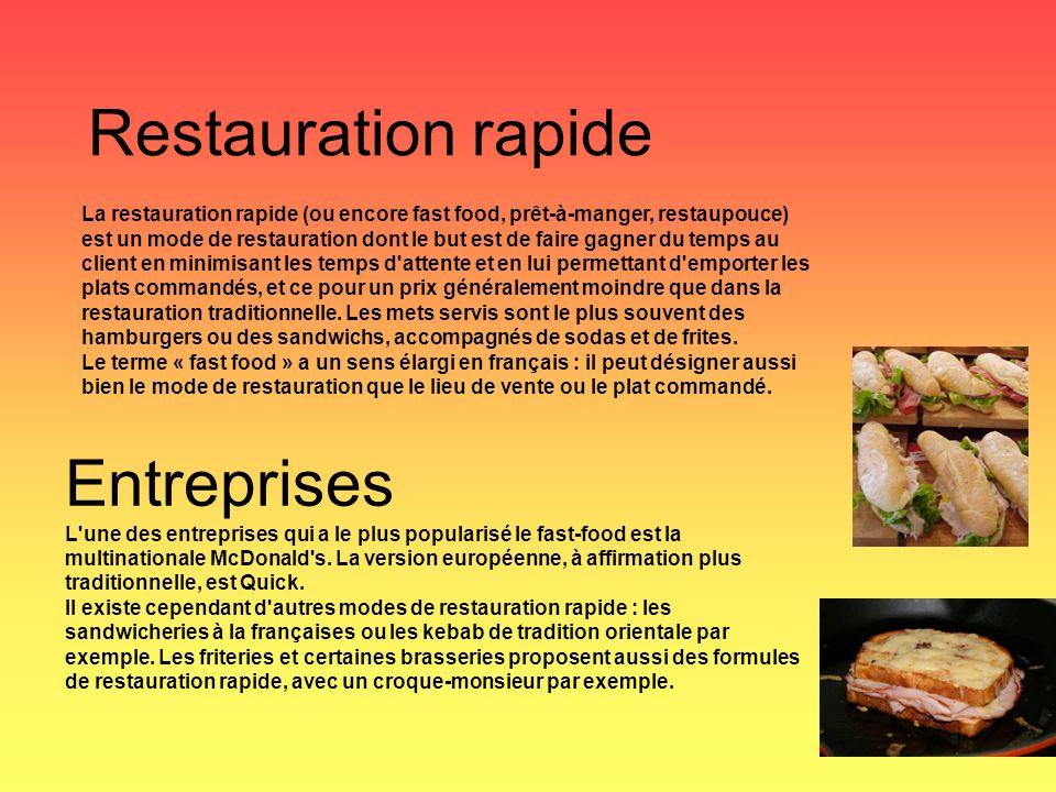 Restauration rapide Entreprises