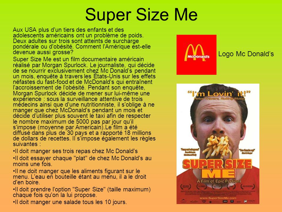 Super Size Me Logo Mc Donald's