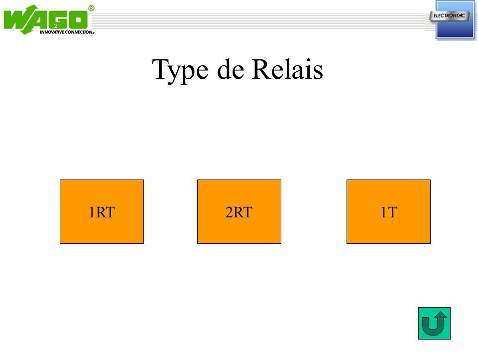 2 Type de Relais 1RT 2RT 1T