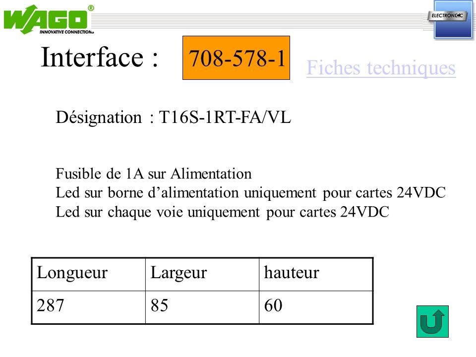 Interface : 708-578-1 Fiches techniques Désignation : T16S-1RT-FA/VL