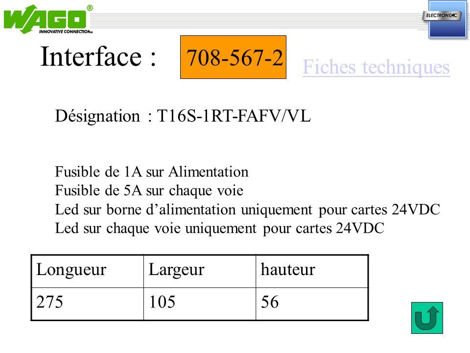 Interface : 708-567-2 Fiches techniques Désignation : T16S-1RT-FAFV/VL