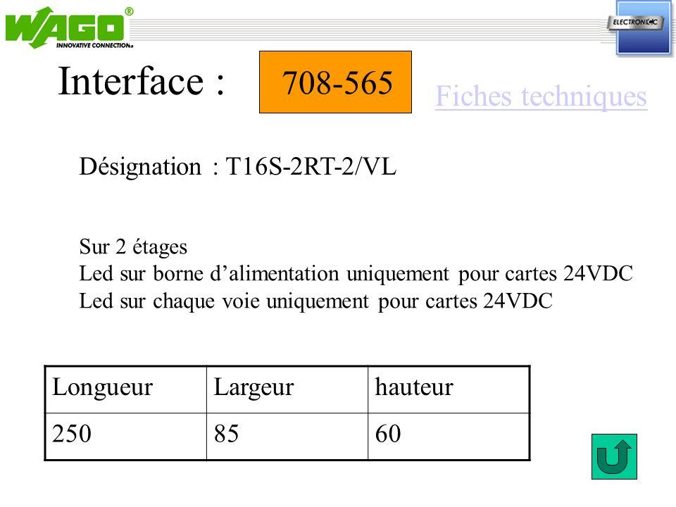 Interface : 708-565 Fiches techniques Désignation : T16S-2RT-2/VL
