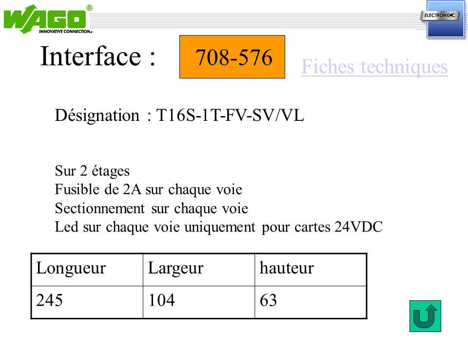 Interface : 708-576 Fiches techniques Désignation : T16S-1T-FV-SV/VL