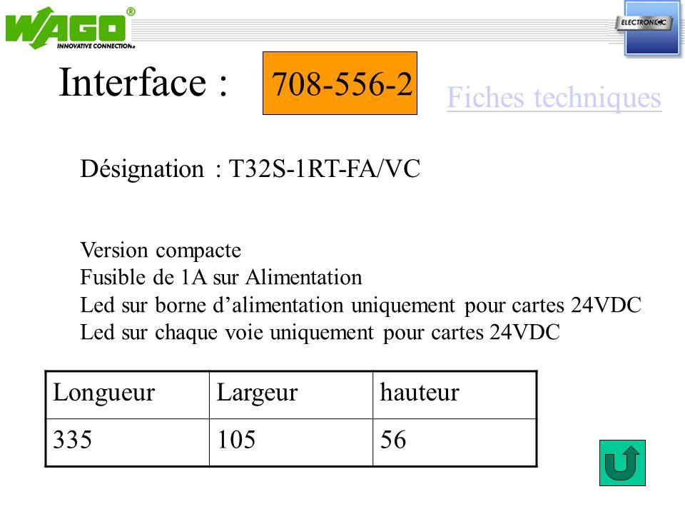 Interface : 708-556-2 Fiches techniques Désignation : T32S-1RT-FA/VC