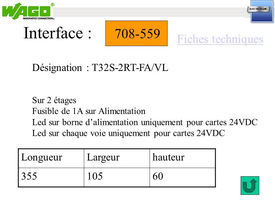 Interface : 708-559 Fiches techniques Désignation : T32S-2RT-FA/VL