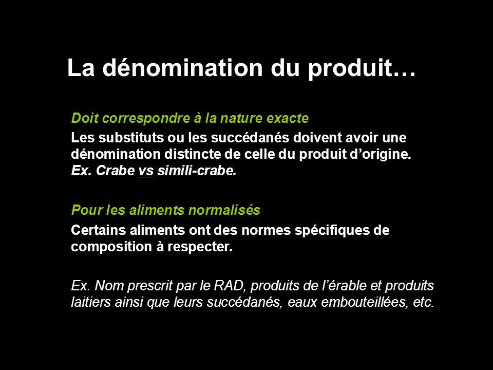 La dénomination du produit…