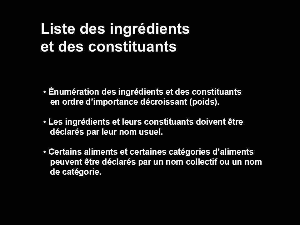 Liste des ingrédients et des constituants