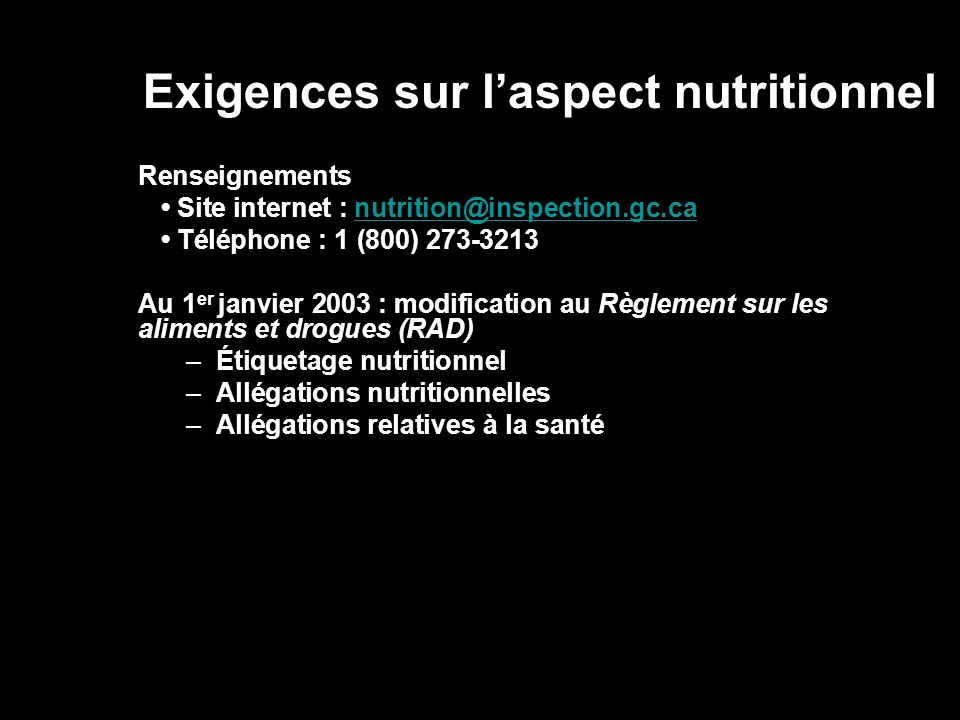 Exigences sur l'aspect nutritionnel