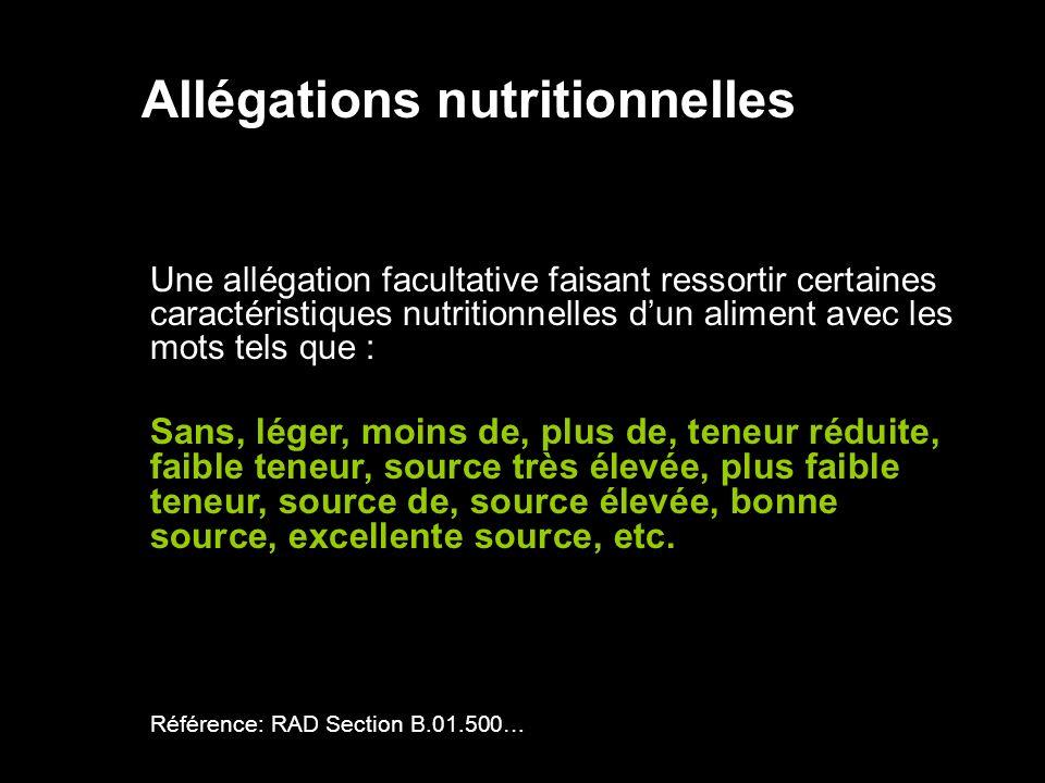 Allégations nutritionnelles