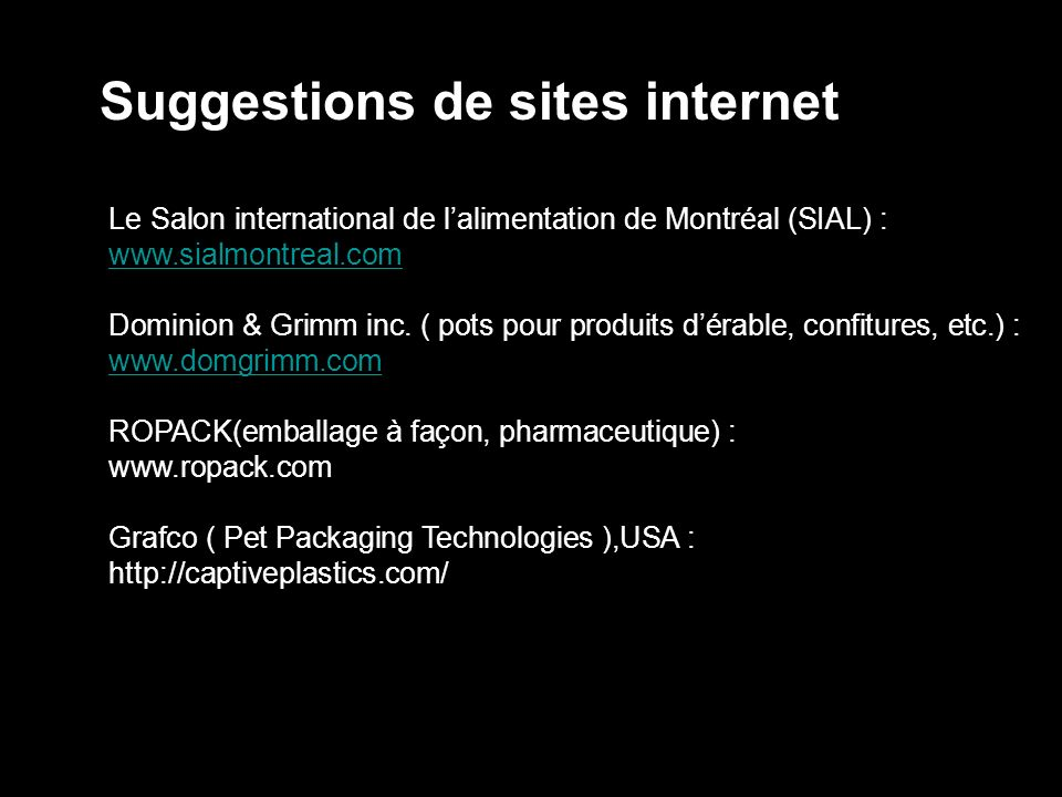 Suggestions de sites internet