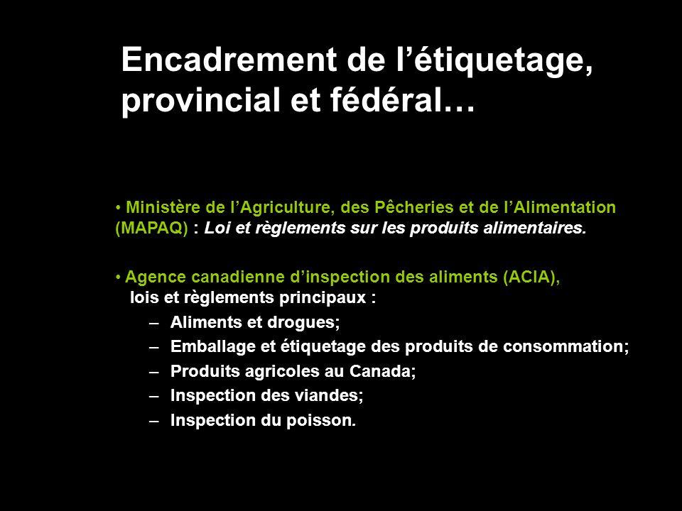 Encadrement de l'étiquetage, provincial et fédéral…