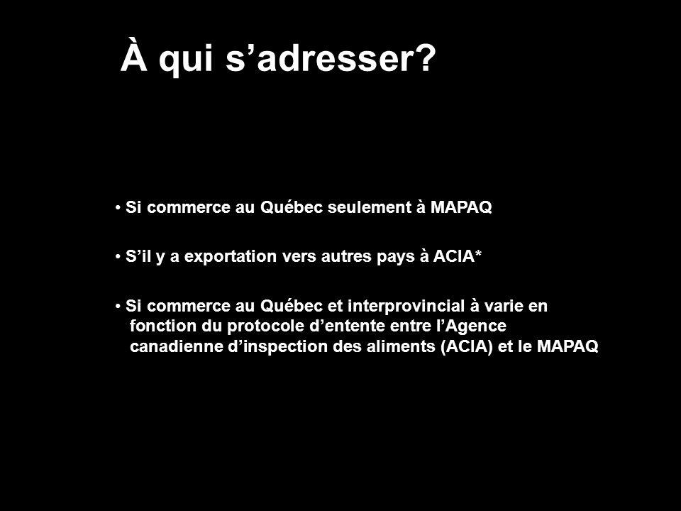À qui s'adresser Si commerce au Québec seulement à MAPAQ