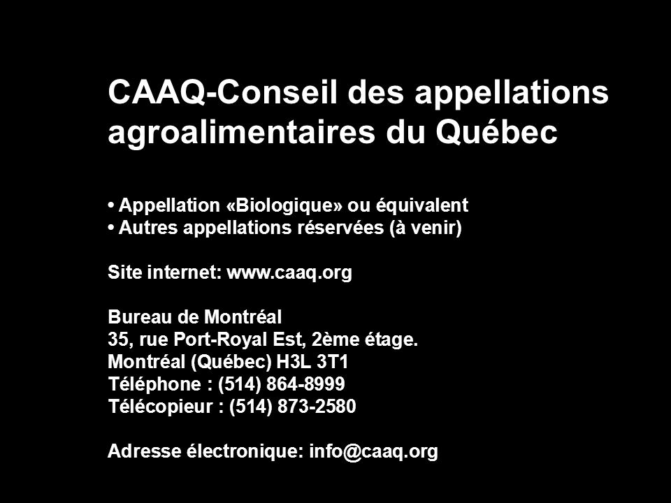 CAAQ-Conseil des appellations agroalimentaires du Québec