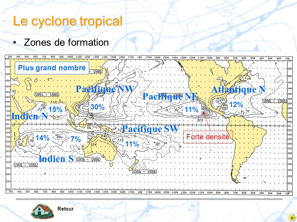 Le cyclone tropical Zones de formation Pacifique NW Atlantique N