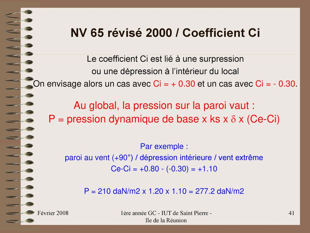 NV 65 révisé 2000 / Coefficient Ci