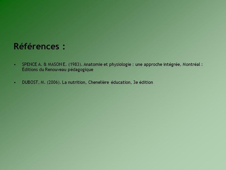 Références : SPENCE A. & MASON E. (1983). Anatomie et physiologie : une approche intégrée, Montréal : Éditions du Renouveau pédagogique.
