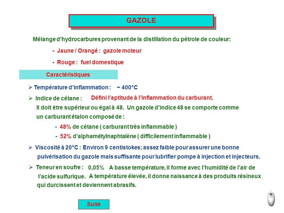 GAZOLE Mélange d'hydrocarbures provenant de la distillation du pétrole de couleur: - Jaune / Orangé : gazole moteur.