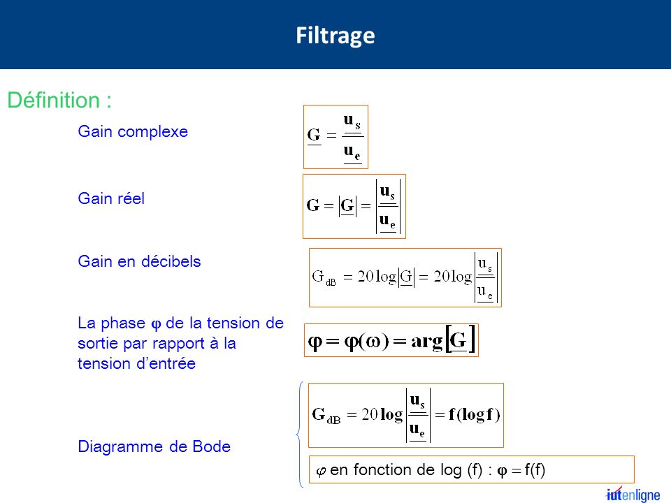 Filtrage Définition : Gain complexe Gain réel Gain en décibels