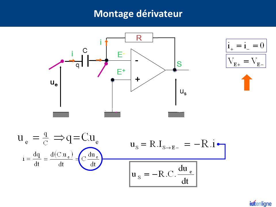 Montage dérivateur R i C i E+ E- S - + q ue us