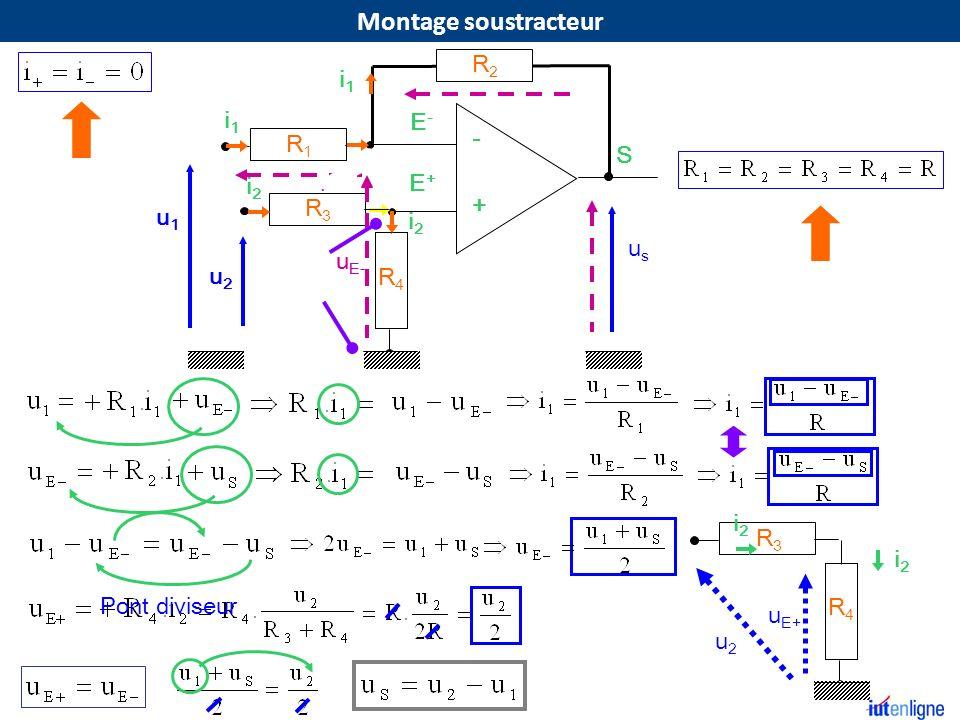 Montage soustracteur R2 i1 i1 E- - R1 S E+ i2 + R3 u1 i2 us uE- uE- u2
