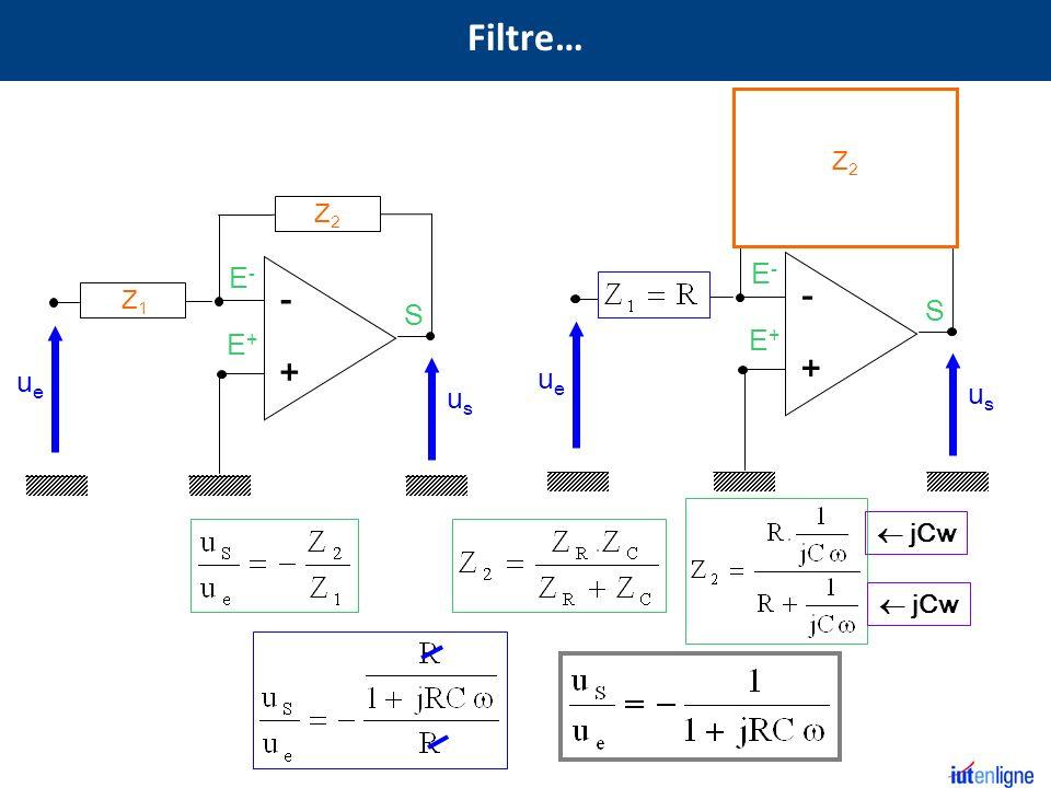 Filtre… R C Z2 Z2 S E+ E- - + S E+ E- - + Z1 R ue us ue us  jCw