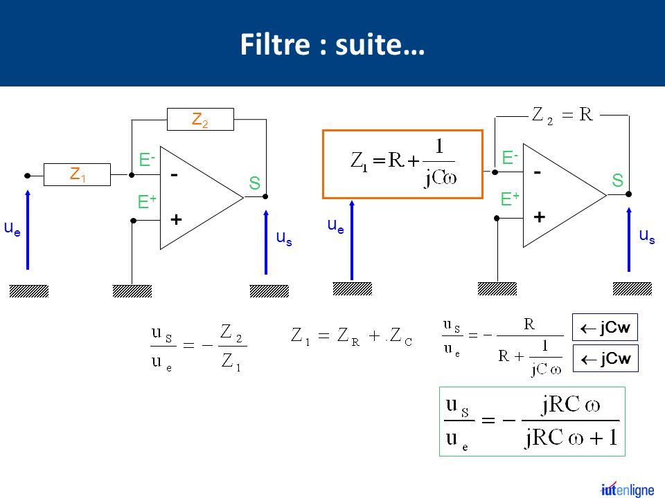 Filtre : suite… R Z2 R C S E+ E- - + S E+ E- - + Z1 ue us ue us  jCw